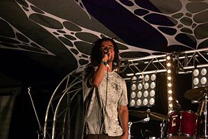 Akala (rapper) - Akala performing at Blissfields 2015.