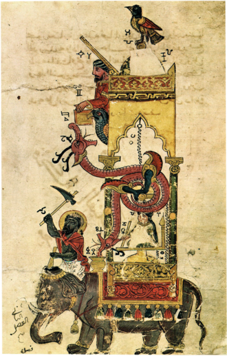 Elephant clock - The elephant clock in a manuscript by Al-Jazari (1206 AD) from The Book of Knowledge of Ingenious Mechanical Devices.