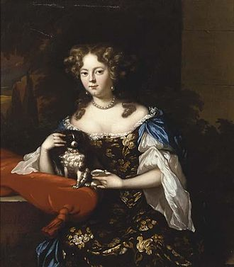 Aleijda Wolfsen - Seated woman in a flower brocade dress with a King Charles Spaniel and seashell with landscape beyond