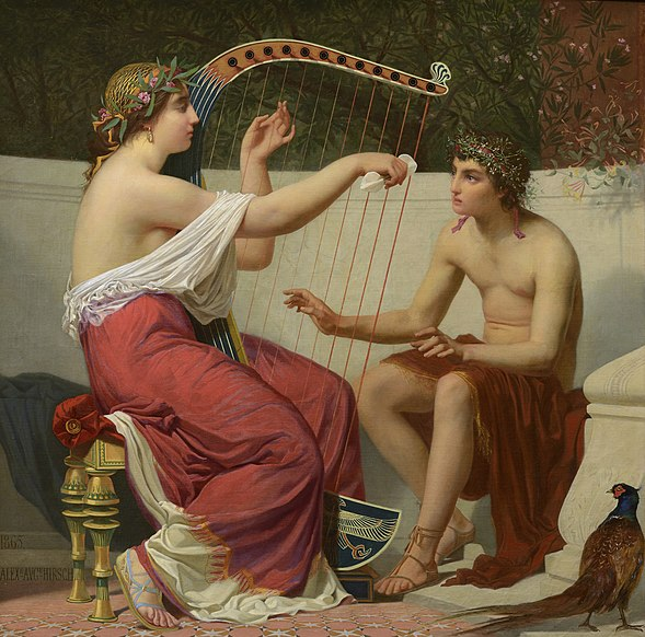 File:Alexandre-Auguste Hirsch - Calliope Teaching Orpheus, 1865.jpg