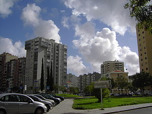 Amadora - A typical street in the urbanized city of Amadora
