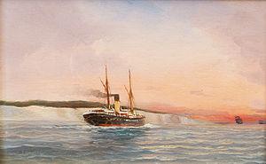 Alfred Jensen - Dampfschiff vor der dänischen Küste (1894).jpg