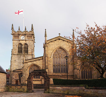 All Saints' Church was substantially rebuilt between 1845 and 1850. All Saints Church Wigan.jpg