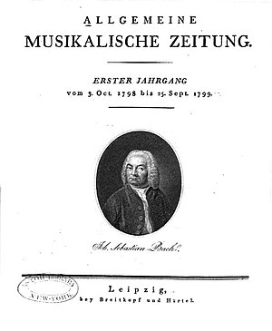 Allgemeine musikalische Zeitung - Title page of the first volume, showing a portrait of J. S. Bach.
