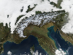 Geography of the Alps - The Alps seen from space