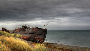 San Gregorio, Chile - Beached wreck of the 1884 steamship Amadeo