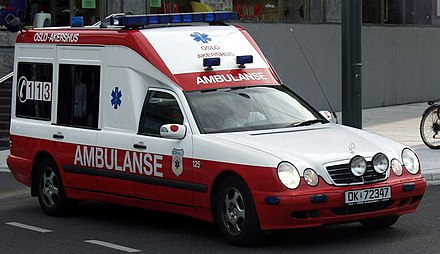 "Norwegian ambulances changed their markings in 2005. This is the old appearance, with the Norwegian ambulanse , ""Ambulance."" Ambulanse Oslo Akershus 18jun2005.jpg"