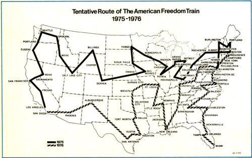 American Freedom Train route map 1975.png
