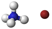 ball-and-stick model of an ammonium cation (left) and a bromide anion (right)