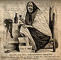 An old woman attempting to cure her corns by drinking brandy Wellcome V0011162.jpg