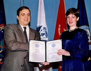 Ana Montes - Ana Montes receiving a Certificate of Distinction from CIA director George Tenet, 1997