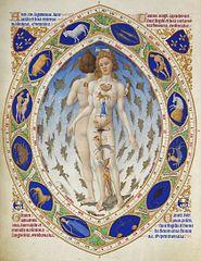 人体と十二宮の照応関係を示した図(ベリー公のいとも豪華なる時祷書より)