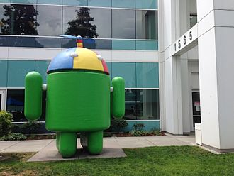 Beanie (seamed cap) - An Android sculpture at Googleplex featuring a multicolored beanie topped by a propeller