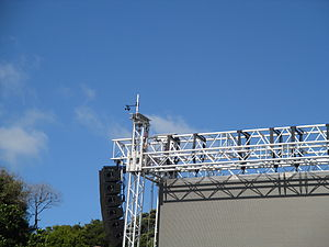 Wind speed - Anemometer on an outdoor stage set, to measure wind speed