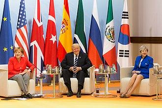 Premiership of Theresa May - May with Angela Merkel and Donald Trump at the G20 Hamburg summit in July 2017