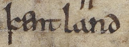 An early mention of Kent in the Anglo-Saxon Chronicle Anglo-Saxon Chronicle - kentland (British Library Cotton MS Tiberius A VI, folio 4r).jpg