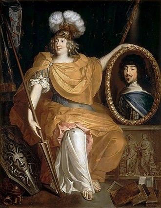 Pierre Bourguignon (painter) - Anne Marie Louise d'Orléans by Pierre Bourguignon holding a portrait of her father Gaston, Duke of Orléans, ca. 1672