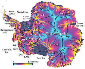 Ice-sheet dynamics - Glacial flow rate in the Antarctic ice sheet.