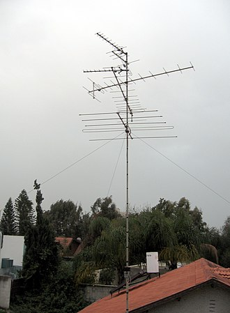 Very high frequency - VHF television antennas used for broadcast television reception.  These six antennas are a type known as a Yagi antenna, which is widely used at VHF