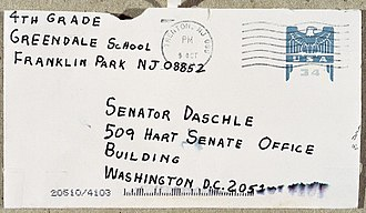2001 anthrax attacks - Envelope addressed to Senator Thomas Daschle, postmarked October 9, 2001