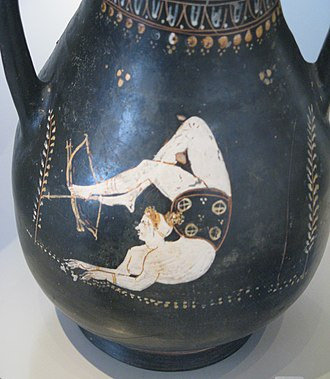 Acrobatics - Female acrobat shooting an arrow with a bow in her feet; Gnathia style ''pelikai'' pottery; 4th century BC