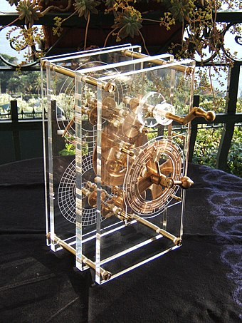 The Greek Antikythera mechanism is generally referred to as the first known analogue computer. Antikythera model front panel Mogi Vicentini 2007.JPG