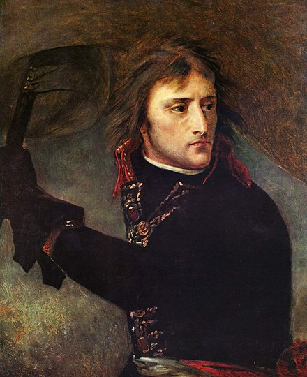 Bonaparte au pont d'Arcole, preparatory study of 1796 for the Versailles portrait (Paris Musee du Louvre), considered superior to the final painting Antoine-Jean Gros 001.jpg