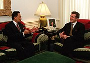 U.S. Secretary of Defense William S. Cohen (right) meets with Anwar Ibrahim (left) in his Pentagon office.