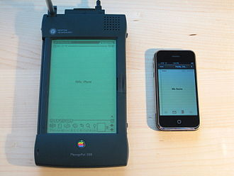 Outline of Apple Inc. - The Apple Newton MessagePad 2100, alongside the original iPhone