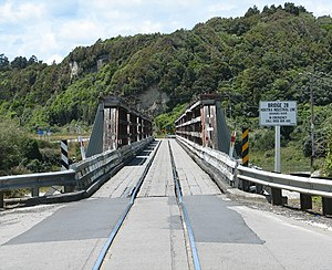 Ross Branch - The road/rail bridge over the Arahura River. Note signage for the Hokitika Industrial Line
