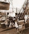 Archivo General de la Nación Argentina 1890 aprox, Fragata Presidente Sarmiento, primer Buque Escuela, Tareas de mantenimiento a bordo.jpg
