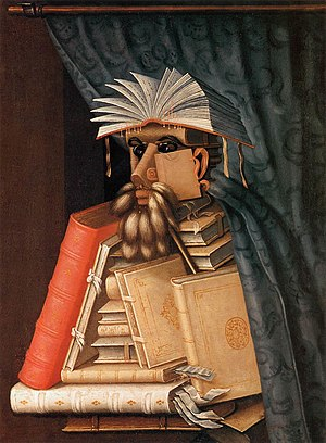 A picture of a man made of books