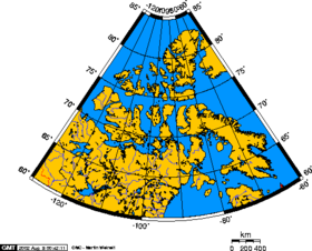 Polar projection map of the Canadian Arctic Archipelago