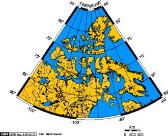 Canadian Arctic Archipelago - Polar projection map of the Canadian Arctic Archipelago