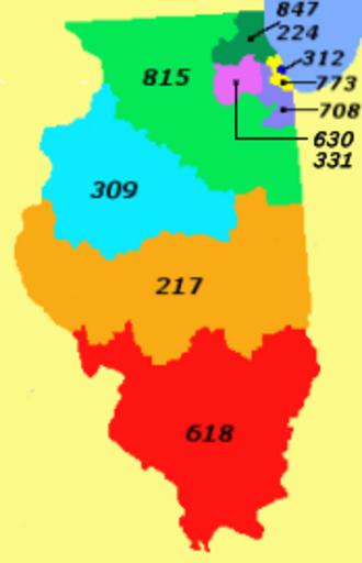 Area code 708 - Area code 708, in lavender.