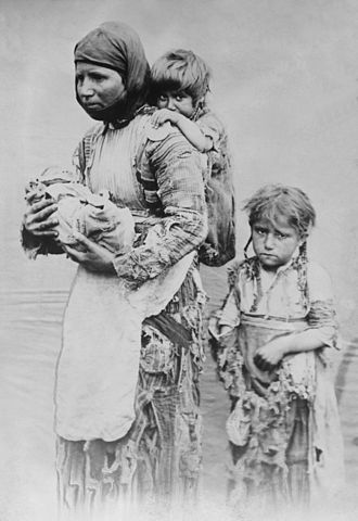 Hamidian massacres - An Armenian woman and her children who were refugees of the massacres and sought help from missionaries by walking far distances.