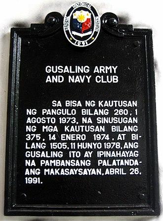 Manila Army and Navy Club - NHI Marker for Army Navy Club Building Manila
