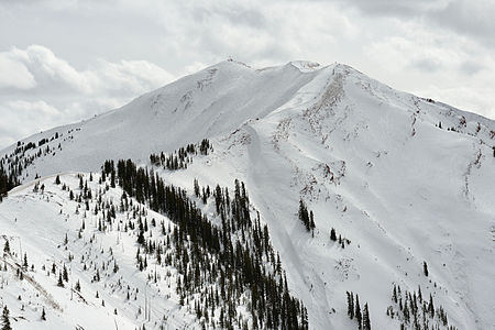 Aspen Highlands peak and bowl from Loge peak. Top elevation 11,678 feet (3,559 m)