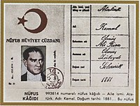 Atatürk's identity document from 1934
