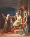 "1800-tallsmaleri af August Thomsen: ""Thyra Dannebod meddeler Kong Gorm den Gamle Underretning om hans Søn Knuds Død"""
