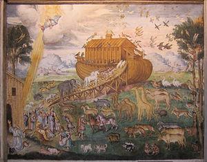 Aurelio Luini - Rising in Noah's ark, painted by Aurelio Luini, ca. 1556.  San Maurizio al Monastero Maggiore Church, Milan, Italy.