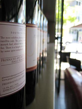 Australian wine - The wine shelf at Saltbox