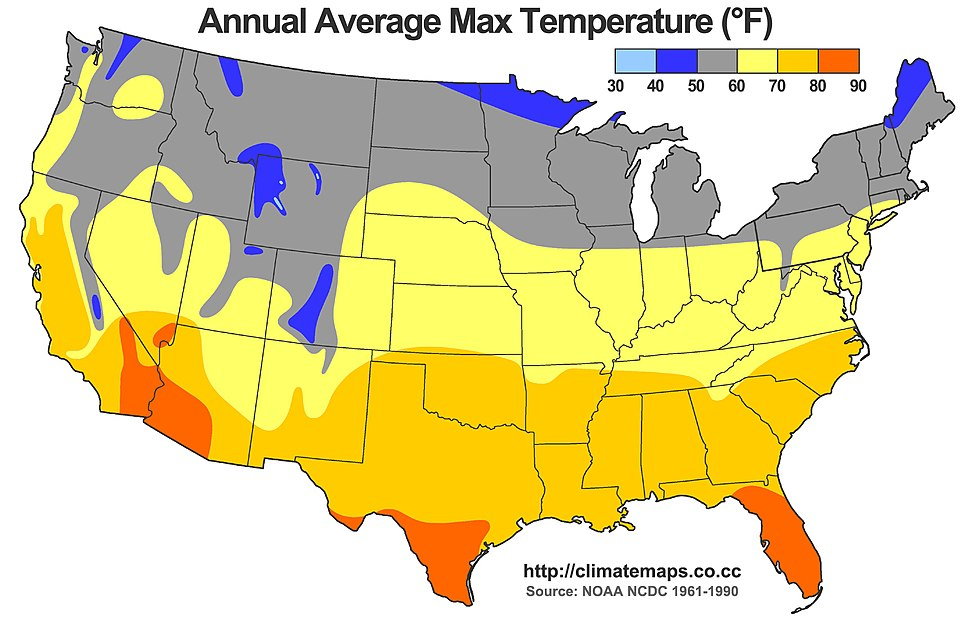 Average Annual High Temperature of the United States