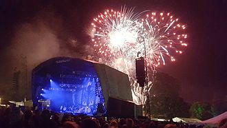 Beautiful Days (festival) - Fireworks after The Levellers' set, 2015