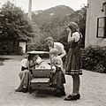 Baby carriage, yard, kids Fortepan 83980.jpg