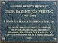 Badiny Jós Ferenc plaque (Balassagyarmat Szondi u 1).jpg