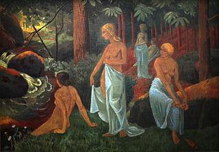 Women bathing with white veils