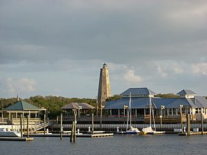 Bald Head Island, North Carolina - Bald Head Island Marina with Old Baldy lighthouse