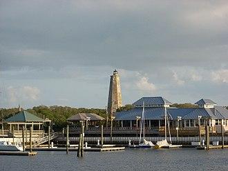 Bald Head Island, North Carolina - Bald Head Island Marina with Old Baldy lighthouse