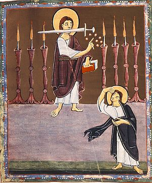 Son of man (Christianity) - The Son of man with a sword among the seven lampstands, in John's vision, from the Bamberg Apocalypse, 11th century.